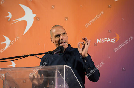 Stock Picture of Yanis Varoufakis Greek finance minister and now candidate for DiEM25 - MeRA25 speaks during a presentation for the Parliamentary elections