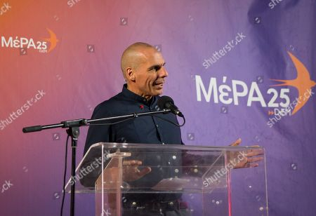 Yanis Varoufakis Greek finance minister and now candidate for DiEM25 - MeRA25 speaks during a presentation for the Parliamentary elections