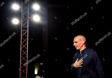 Stock Photo of Yanis Varoufakis Greek finance minister and now candidate for DiEM25 - MeRA25 speaks during a presentation for the Parliamentary elections