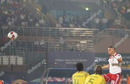 Youssef En-Nesyri of Morocco heading on goal during the African Cup of Nations match between South Africa and Morocco at the Al Salam Stadium in Cairo, Egypt