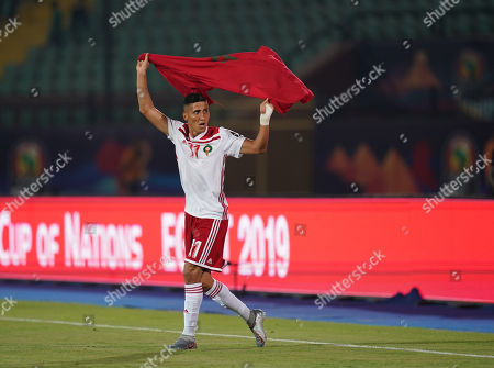 Faycal Fajr of Morocco celebrating after the game during the African Cup of Nations match between South Africa and Morocco at the Al Salam Stadium in Cairo, Egypt