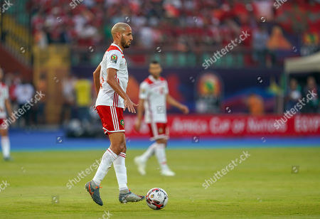 Karim El Ahmadi Aroussi of Morocco during the African Cup of Nations match between South Africa and Morocco at the Al Salam Stadium in Cairo, Egypt