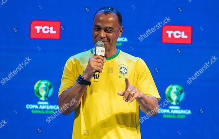 Former Brazilian soccer player Cafu speaks during a promotional event for TCL electronics in Sao Paulo, Brazil