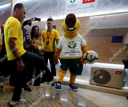 Former Brazilian soccer player Cafu (L) and the mascot Zizito attend a Copa America promotion event in Sao Paulo, Brazil, 01 July 2019. The Copa America runs its semifinal stage where Brazil, Argentina, Peru and Chile competing for the 2019 title.