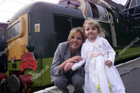 Actress Sally Thomsett With Daughter Charlie At Kings Cross Station To Launch Millennium Cavalcade Of Steam.