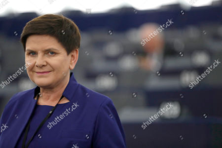 Poland's Deputy Prime Minister Beata Szydlo arrives at the European Parliament in Strasbourg, eastern France, . The first session of the new Parliament will open later today