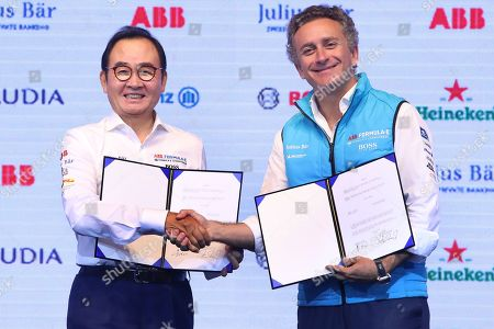Stock Picture of Yoon Eun-ki (L), head of Formula E Korea, and Alejandro Agag, founder and CEO of Formula E Operations Ltd., pose for a photo during a press event in Seoul, South Korea, 02 July 2019. The Seoul E-Prix 2020 will take place at Jamsil Stadium and on neighboring streets in eastern Seoul on 03 May 2020.