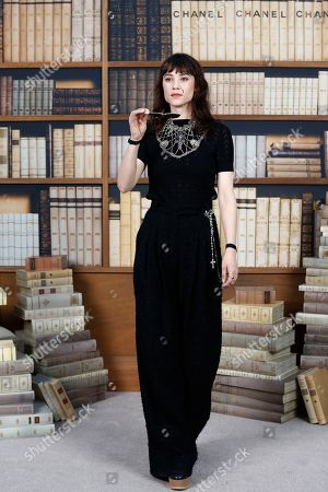 Astrid Berges-Frisbey poses for photographers upon arrival at the Chanel Haute Couture Fall-Winter 2020 fashion collection presented in Paris