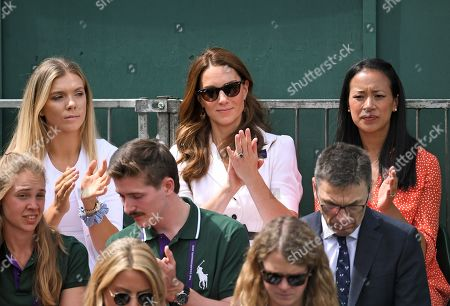 Catherine Duchess of Cambridge sitting next to Katie Boulter and Anne Keothavong on Court 14