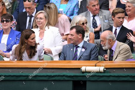 Catherine Duchess of Cambridge, Philip Brook and Prince Michael of Kent in the Centre Court Royal Box