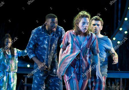 Stock Photo of Gabrielle Brooks as Hermia, Michael Elcock as Lysander, Remy Beasley as Helena,  Pierro Niel-Mee as Demetrius,