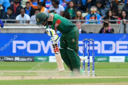 Sabbir Rahman of Bangladesh digs out a yorker bowled by Jasprit Bumrah of India during the ICC Cricket World Cup 2019 match between Bangladesh and India at Edgbaston, Birmingham