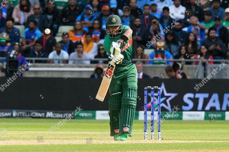 Sabbir Rahman of Bangladesh gets a leading edge which falls safe during the ICC Cricket World Cup 2019 match between Bangladesh and India at Edgbaston, Birmingham
