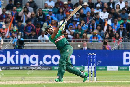 Sabbir Rahman of Bangladesh swings and misses during the ICC Cricket World Cup 2019 match between Bangladesh and India at Edgbaston, Birmingham