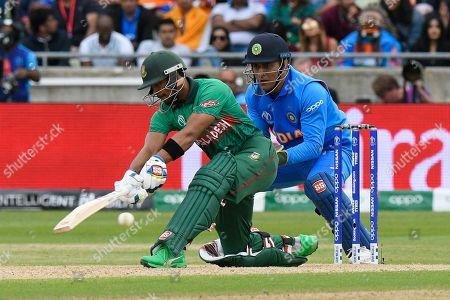 Sabbir Rahman of Bangladesh plays a sweep shot for four runs during the ICC Cricket World Cup 2019 match between Bangladesh and India at Edgbaston, Birmingham