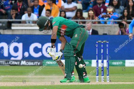 Sabbir Rahman of Bangladesh digs out a yorker bowled by Bhuvneshwar Kumar of India during the ICC Cricket World Cup 2019 match between Bangladesh and India at Edgbaston, Birmingham