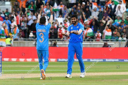 Wicket - Jasprit Bumrah of India celebrates taking the wicket of Sabbir Rahman of Bangladesh during the ICC Cricket World Cup 2019 match between Bangladesh and India at Edgbaston, Birmingham