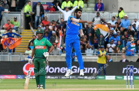 Wicket - Jasprit Bumrah of India leaps in the air as he celebrates taking the wicket of Sabbir Rahman of Bangladesh during the ICC Cricket World Cup 2019 match between Bangladesh and India at Edgbaston, Birmingham