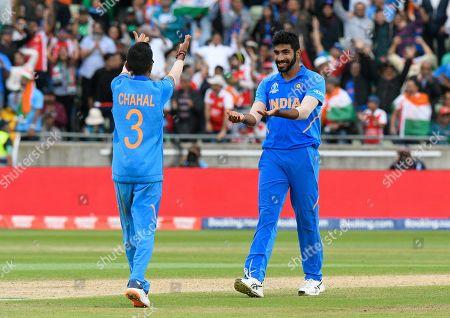 Wicket - Jasprit Bumrah of India celebrates taking the wicket of Sabbir Rahman of Bangladesh with Yuzvendra Chahal of India during the ICC Cricket World Cup 2019 match between Bangladesh and India at Edgbaston, Birmingham