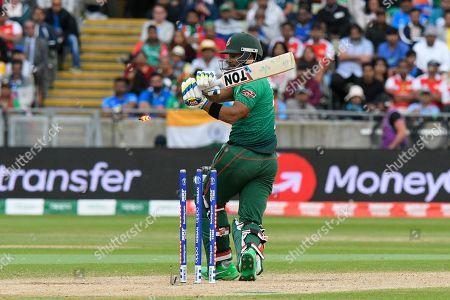Wicket - Sabbir Rahman of Bangladesh is bowled by Jasprit Bumrah of India during the ICC Cricket World Cup 2019 match between Bangladesh and India at Edgbaston, Birmingham