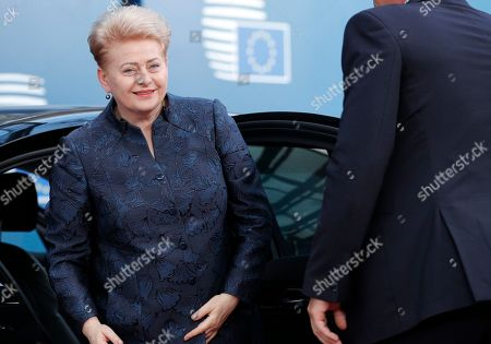Stock Photo of Lithuania's President Dalia Grybauskaite arrives for the third straight day of a European Union leaders summit in Brussels, Belgium, 02 July 2019, for talks aimed at defusing fresh power struggles in a bid to fill the bloc's top jobs.