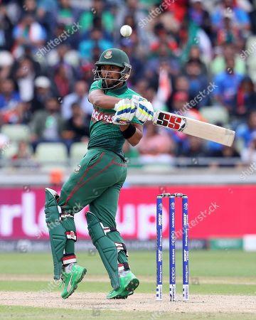 Bangladesh's Sabbir Rahman bats during the Cricket World Cup match between India and Bangladesh at Edgbaston in Birmingham, England
