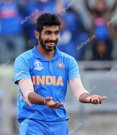 India's Jasprit Bumrah celebrates after the dismissal of Bangladesh's Sabbir Rahman during the Cricket World Cup match between India and Bangladesh at Edgbaston in Birmingham, England