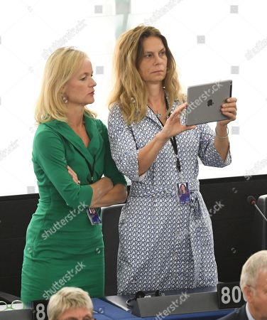 Green MEP and TV chef Sarah Wiener (R) at the first session of the new Parliament at the European Parliament, in Strasbourg, France, 02 July 2019.