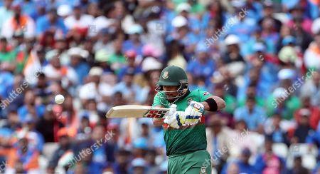 Bangladesh's Sabbir Rahman bats during the Cricket World Cup match between Bangladesh and India at Edgbaston in Birmingham, England