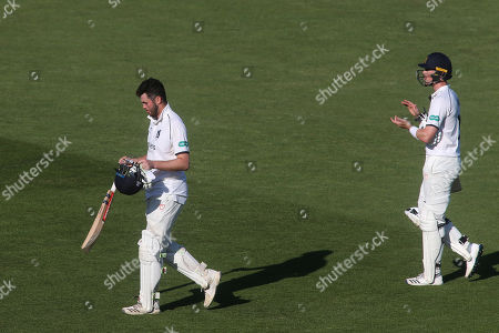 Warwickshire's Adam Hose claps Dominic Sibley as he leaves the field of play after scoring a double century during Kent CCC vs Warwickshire CCC, Specsavers County Championship Division 1 Cricket at the St Lawrence Ground on 2nd July 2019