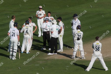 All eyes on Kent's Zak Crawley after he was hit on his helmet fielding close to the bat, by Warwickshire's Adam Hose during Kent CCC vs Warwickshire CCC, Specsavers County Championship Division 1 Cricket at the St Lawrence Ground on 2nd July 2019