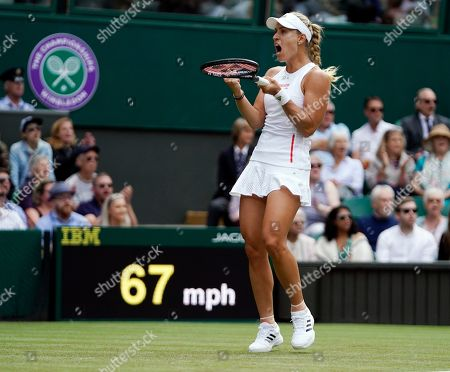 Angelique Kerber of Germany scores against compatriot Tatjana Maria in their first round match during the Wimbledon Championships at the All England Lawn Tennis Club, in London, Britain, 02 July 2019.