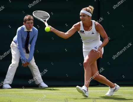 Timea Bacsinszky of Switzerland returns to Sloane Stephens of the US in their first round match during the Wimbledon Championships at the All England Lawn Tennis Club, in London, Britain, 02 July 2019.