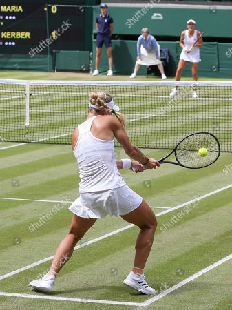 Angelique Kerber and Tatjana Maria in action during a first round match