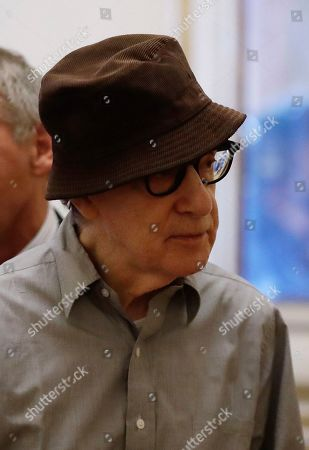 Stock Image of Director Woody Allen arrives to attend a press conference at La Scala opera house, in Milan, Italy,. Woody Allen is directing Puccini's ' Gianni Schicchi ' opera, which opens Saturday in Milan. The opera premiered in Los Angeles and it is making its debut at La Scala