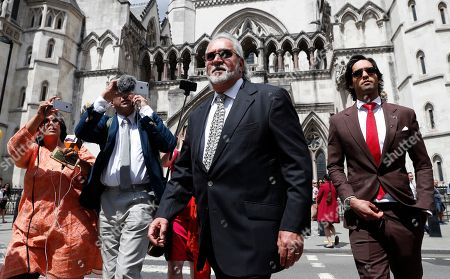 Stock Image of Indian tycoon Vijay Mallya, high Court appeal against extradition to India to face fraud charges at the Royal Courts of Justice in London, . Mallya, whose business empire once included Kingfisher beer, left India two and a half years ago after defaulting on debts of more than a billion dollars linked to a failing venture, Kingfisher Airlines