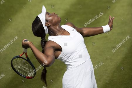 Sloane Stephens of USA in action during her first round match against Timea Bacsinszky of Switzerland, during the Wimbledon Championships at the All England Lawn Tennis Club, in London, Britain, 02 July 2019.