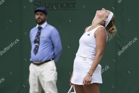Timea Bacsinszky of Switzerland reacts during her first round match against Sloane Stephens of the USA during the Wimbledon Championships at the All England Lawn Tennis Club, in London, Britain, 02 July 2019.