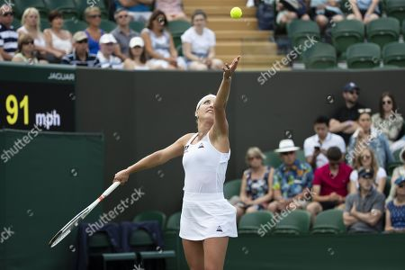 Timea Bacsinszky of Switzerland in action during her first round match against Sloane Stephens of USA during the Wimbledon Championships at the All England Lawn Tennis Club, in London, Britain, 02 July 2019.