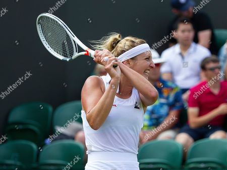 Timea Bacsinszky (SUI) In action during her first round match against Sloane Stephens (USA)
