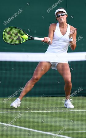 Stock Photo of Arina Rodionova of Australia in action against Taylor Townsend of the USA during their first round match at the Wimbledon Championships at the All England Lawn Tennis Club, in London, Britain, 02 July 2019.