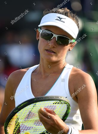 Arina Rodionova of Australia in action against Taylor Townsend of the USA during their first round match at the Wimbledon Championships at the All England Lawn Tennis Club, in London, Britain, 02 July 2019.