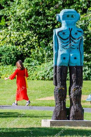 Stock Image of Huma Bhabha, Receiver (2019), Presented by Salon 94  - Frieze Sculpture, one of the largest outdoor exhibitions in London, including work by 25 international artists from across five continents in Regents Park from 3rd July - 6th October 2019.