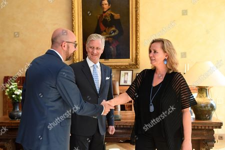 Stock Photo of King Philippe receives Liesbeth Homans for her oath as Prime Minister of the Flemish Government