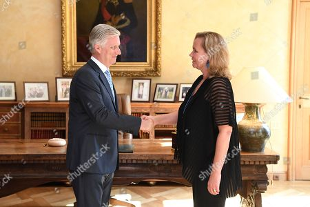Stock Picture of King Philippe receives Liesbeth Homans for her oath as Prime Minister of the Flemish Government