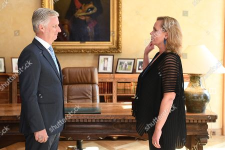Stock Image of King Philippe receives Liesbeth Homans for her oath as Prime Minister of the Flemish Government