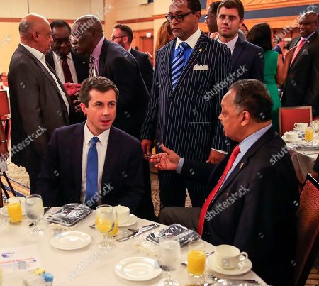 Democratic candidate for US President and South Bend, Indiana Mayor Pete Buttigieg (L) sits with The Reverend Jesse Jackson (R) before speaking at the Rainbow PUSH International Convention at the Sheraton Grand Hotel in Chicago, Illinois, USA, 02 July 2019. The annual even has attracted several presidential hopefuls who have come to speak.