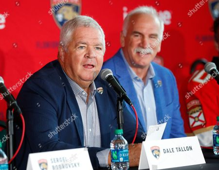 Florida Panthers President of Hockey Operations & General Manager Dale Tallon, left, along with head coach Joel Quenneville, right, introduce new players Anton Stralman, Sergei Bobrovsky, Brett Connolly and Noel Acciari during a news conference, in Sunrise, Fla