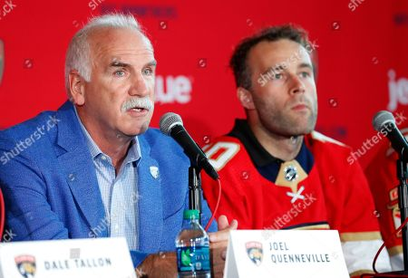 Florida Panthers Head Coach Joel Quenneville, left, speaks during a news conference as Brett Connolly, right, looks, in Sunrise, Fla. The Panthers, New York Rangers and Nashville Predators were winners on Day 1 of NHL free agency, signing the best players available to seven-year, lucrative contracts