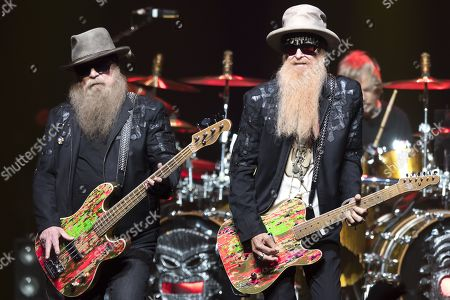 Bass player Dusty Hill (L) and guitarist Billy Gibbons (R) of US rock band ZZ Top perform on the stage of the Auditorium Stravinski during the 53rd Montreux Jazz Festival (MJF), in Montreux, Switzerland, 02 July 2019. The MJF runs from 28 June to 13 July and features 450 concerts.